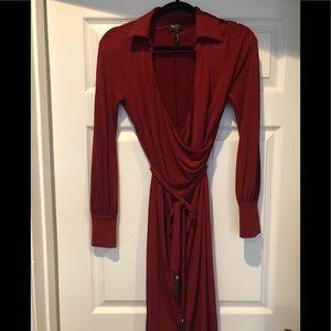 Red laundry wrap dress size 4